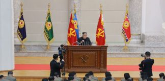 Kim Jong Un at Ministry of the People's Armed Forces on 71st anniversary of North Korea's army