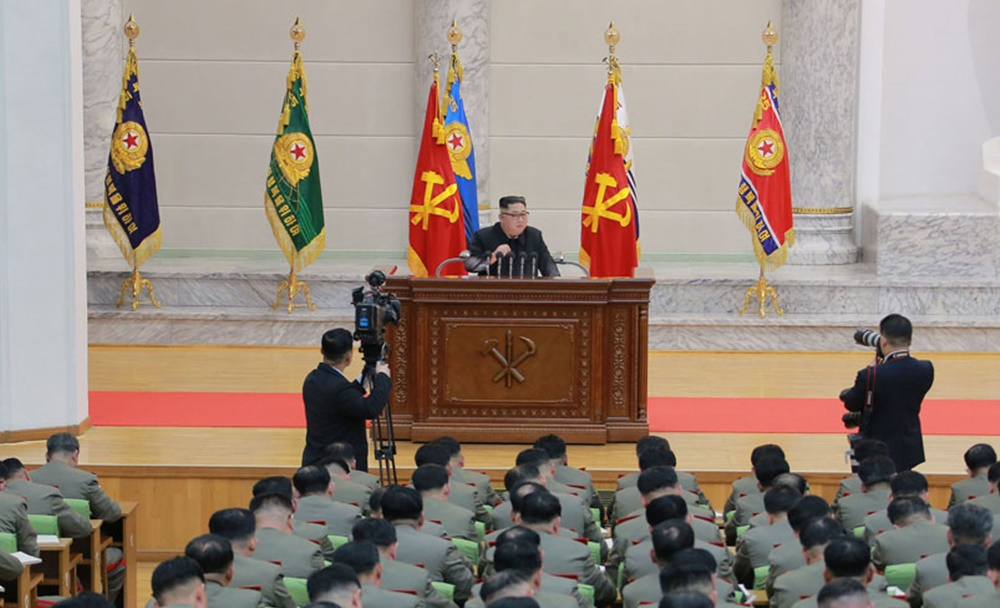 Kim Jong Un at Ministry of the People's Armed Forces on 71st founding anniversary of North Korea's army