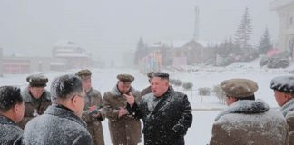 Kim Jong Un visiting a construction site in Samjiyon