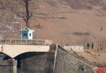 Border guards in North Pyongan Province along the Amnok River.