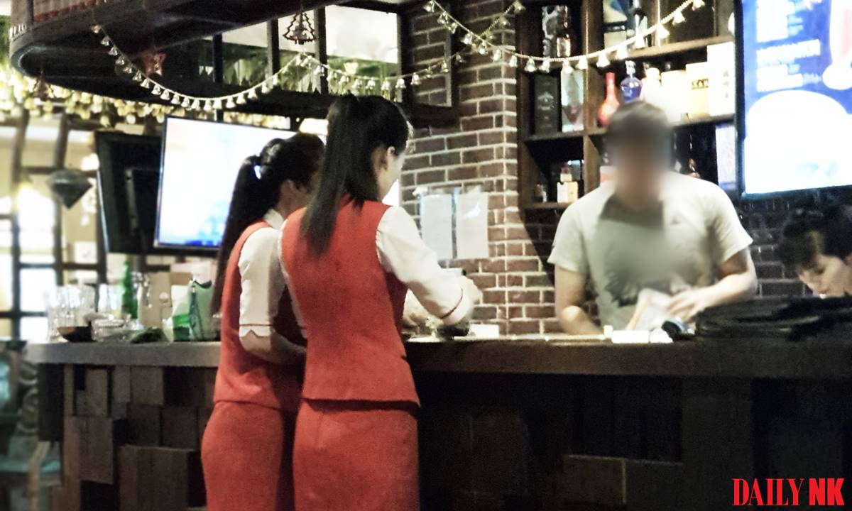 North Korean workers at a restaurant in Dandong (taken in July 2018)