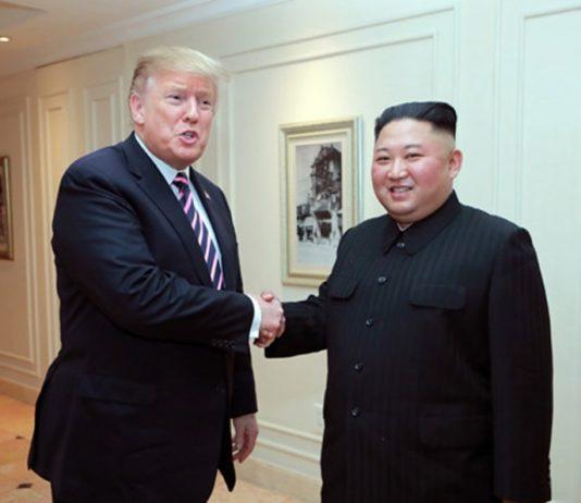 U.S. President Donald Trump and North Korean leader Kim Jong Un shake hands at the second U.S.-DPRK summit in Hanoi