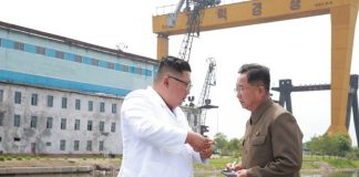 Kim Jong Un visits a shipyard in Chongjin, North Korea in July 2018