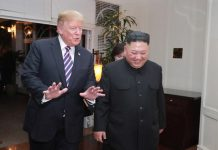 Kim Jong Un and Donald Trump at the second U.S.-DPRK summit in Hanoi last month