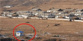 Surveillance camera and guard post on the Sino-North Korea border (January 2019)