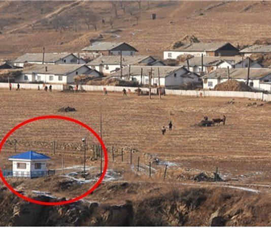 Surveillance camera and guard post on the Sino-North Korea border (January 2019)