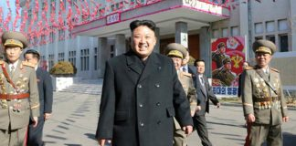 Kim Jong Un leaves a polling location after voting in the 2014 Supreme People's Assembly elections.
