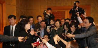 North Korean Vice Foreign Minister Choe Son Hui at a press conference following the Hanoi Summit