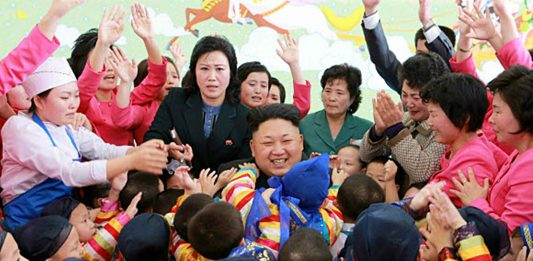 Kim Jong Un visits an orphanage in Pyongyang in 2015