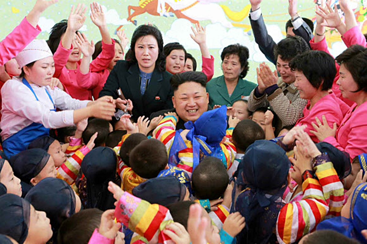 Kim Jong Un visits an orphanage in Pyongyang in 2015