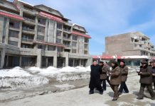 Kim Jong Un during a visit to the Samjiyon construction site in early April