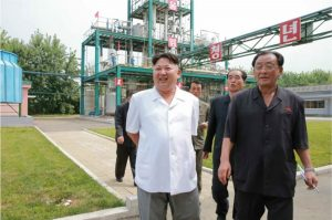 Kim Jong Un during a site visit to the Sunchon chemical complex