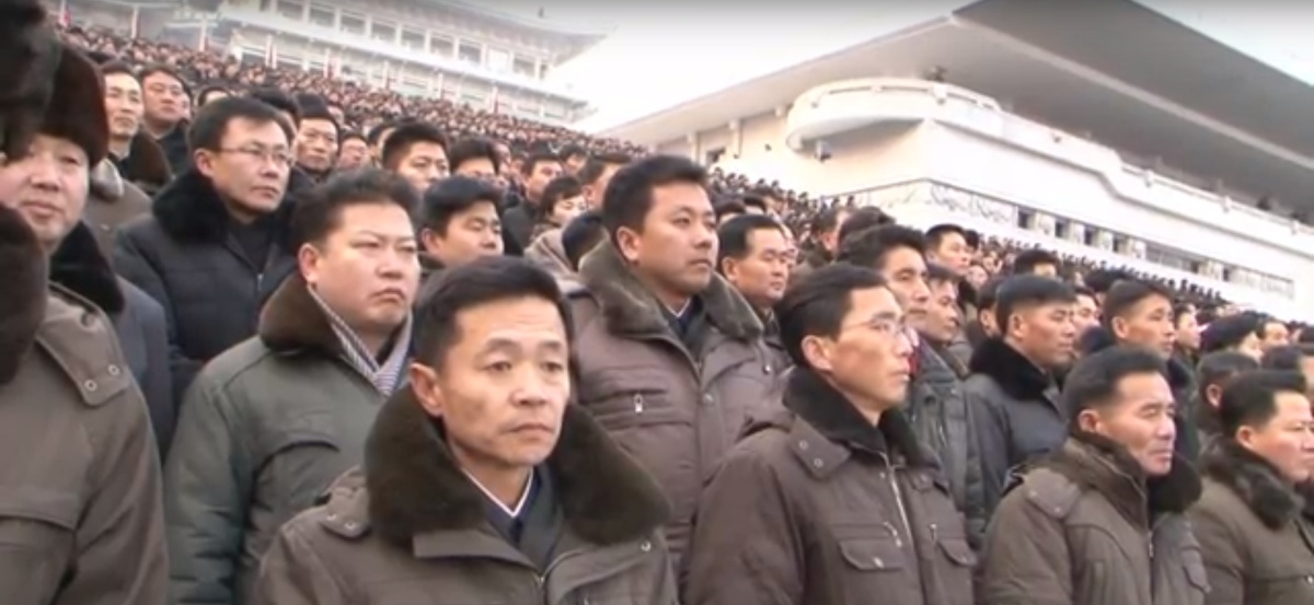 Residents of Pyongyang in Kim Il-Sung square participate in a show of support for Kim Jong-Un's New Year's message in January.