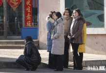 North Korean women at the customs office in Dandong in mid-February 2019