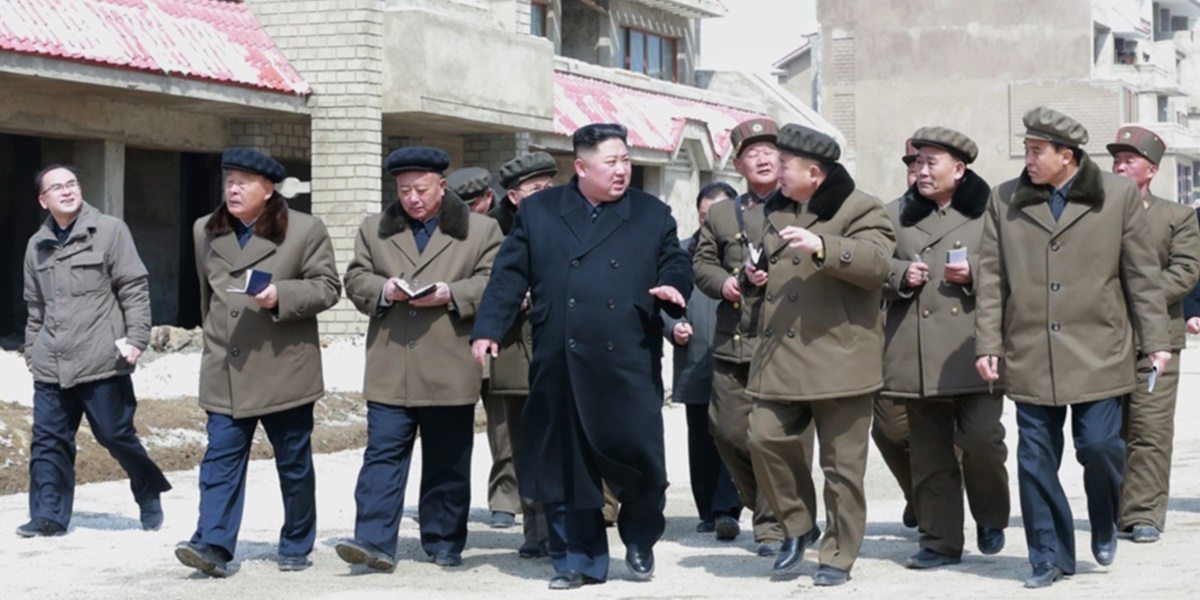 Kim Jong Un on a site visit to the Samjiyon construction site in April 2019
