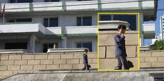 North Korean resident on his mobile phone in a provincial region of the country