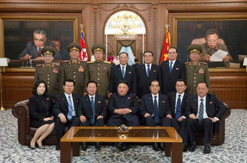 Kim Yong Chol (upper row in the center) in photo with newly-elected members of state leadership bodies on April 12.