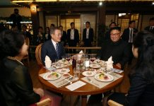 Moon Jae In and Kim Jong Un during the September 2018 inter-Korean summit in Pyognyang