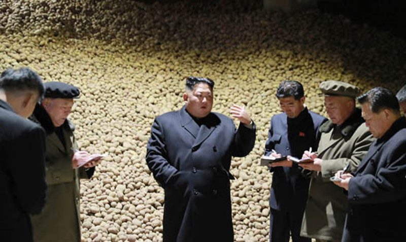 North Korean leader Kim Jong Un during an inspection of the Samjiyon Potato Farina Production Factory in Samjiyon County, Ryanggang Province in October 2018