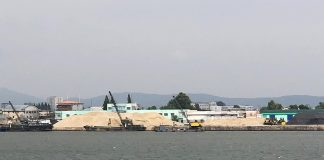 Sand at Sinuiju port for regional construction projects (taken in September 2019)