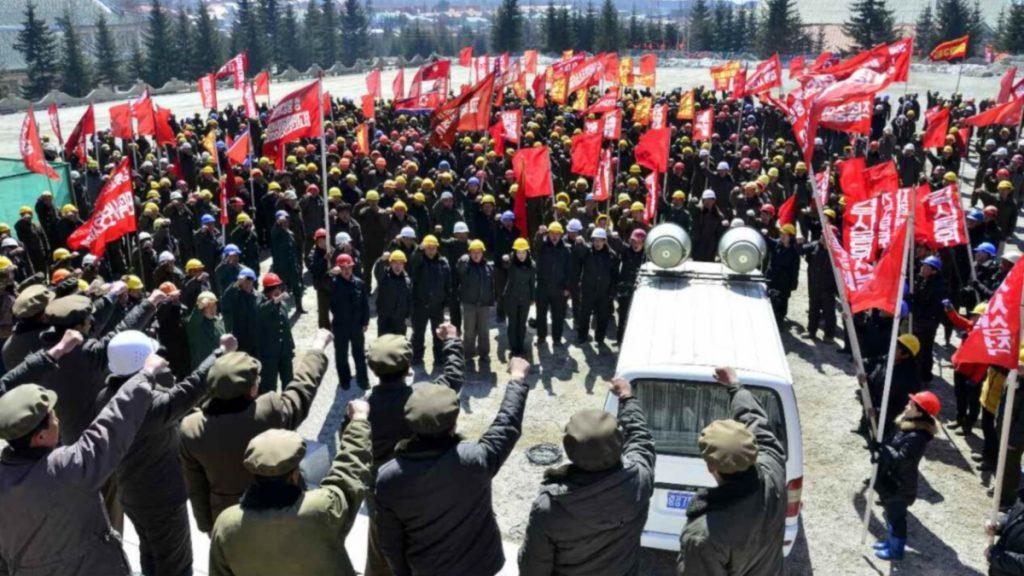 Propaganda rally at Samjiyon construction site