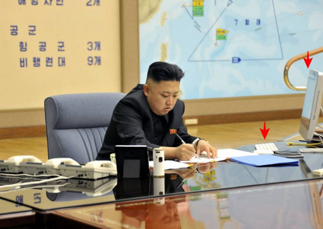 Kim Jong Un appears with a Mac computer and keyboard in March 2013