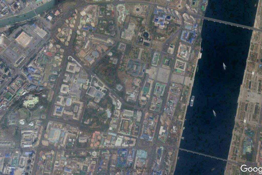 Satellite imagery of Pyongyang's Central District