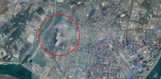 Satellite imagery of Pyongyang's Pyongchon District. Smoke plumes emanating from the Pyongyang Thermal Power Station are visible