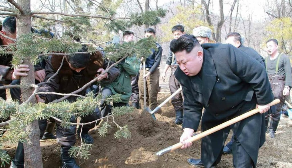 "Kim Jong Un planting trees on Arbor Day (known as ""Tree Planting Day"" in North Korea) 2015 to promote forestation"