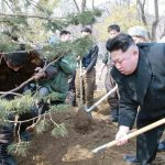 """Kim Jong Un planting trees on Arbor Day (known as """"Tree Planting Day"""" in North Korea) 2015 to promote forestation"""
