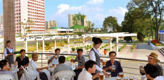 Pyongyangites drinking Taedonggang Beer