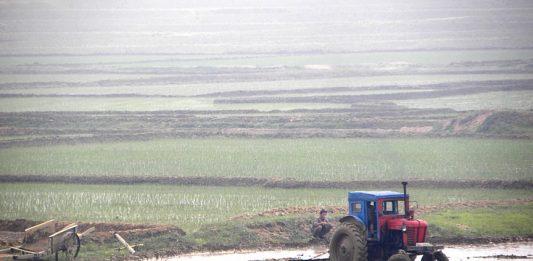 A tractor on a farm in North Korea