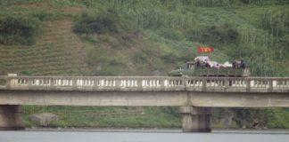 Trucks on bridge