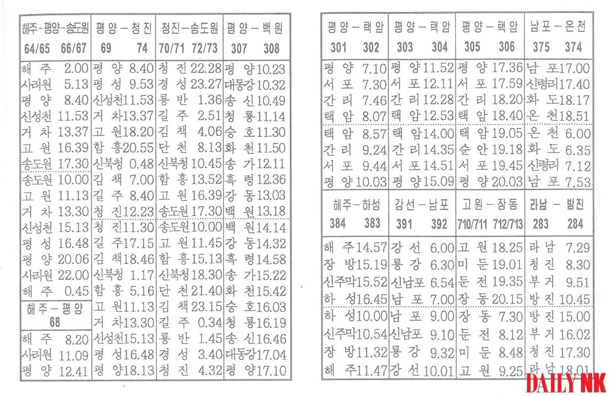 열차시간표