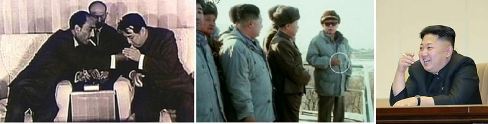 북한 지도자 담배 피는 모습