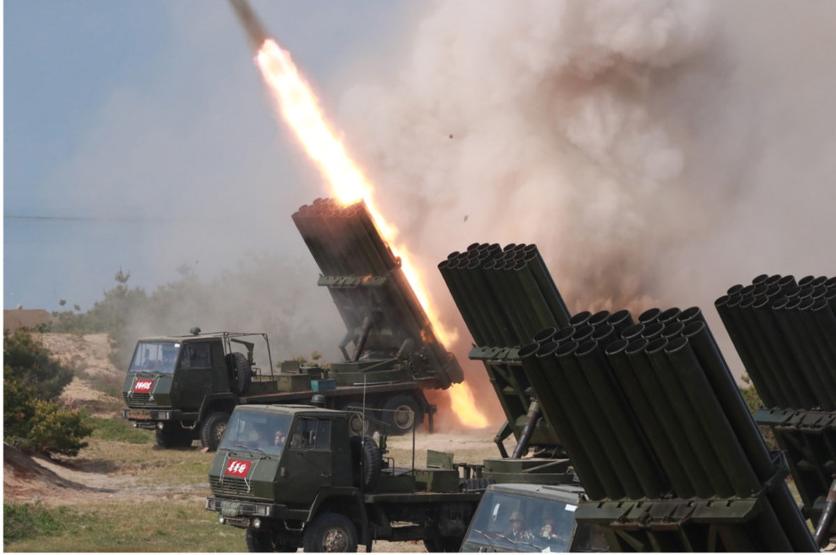 The state-run Rodong Sinmun reported in May that Kim Jong Un observed a strike drill involving large-caliber, long-range multiple rocket launchers and tactical guided weapons on the coast of the East Sea.