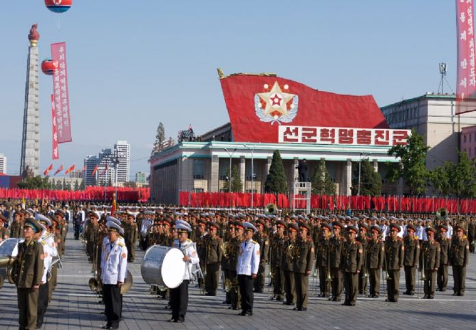 North Korean soldiers gather in Kim Il Sung square in 2016 to celebrate Party Foundation Day