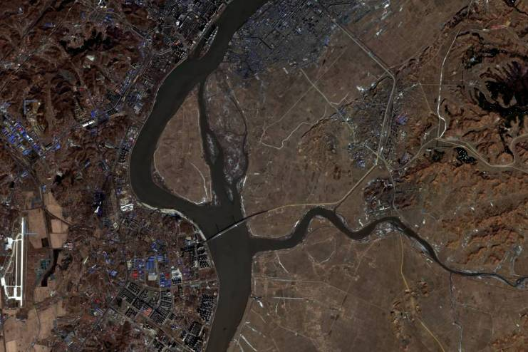 신압록강대교 위성사진.