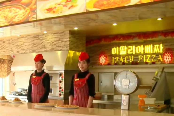 북한의 이탈리아 음식점.